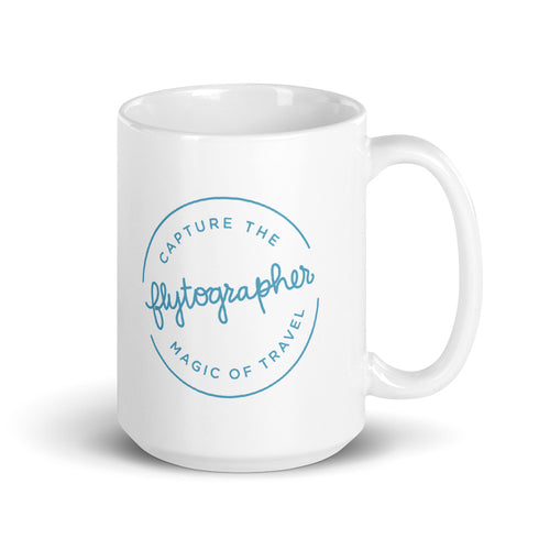 150z white ceramic mug with colourful graphic font on front saying Flytographer