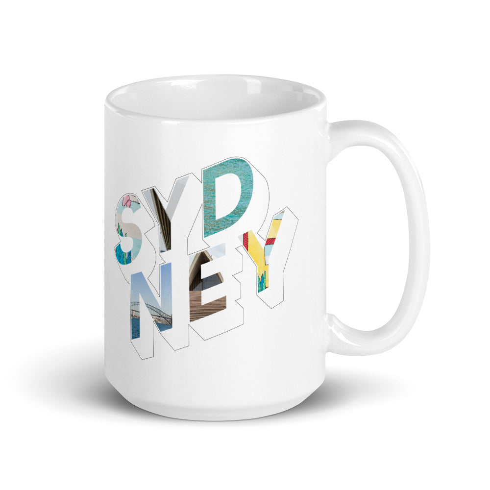 150z white ceramic mug with colourful graphic font on front saying Sydney