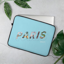 Load image into Gallery viewer, Blue laptop case with a colourful graphic and the word Paris