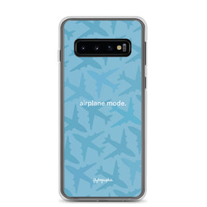 blue Samsung phone case with airplane graphics and the words airplane mode written on the front