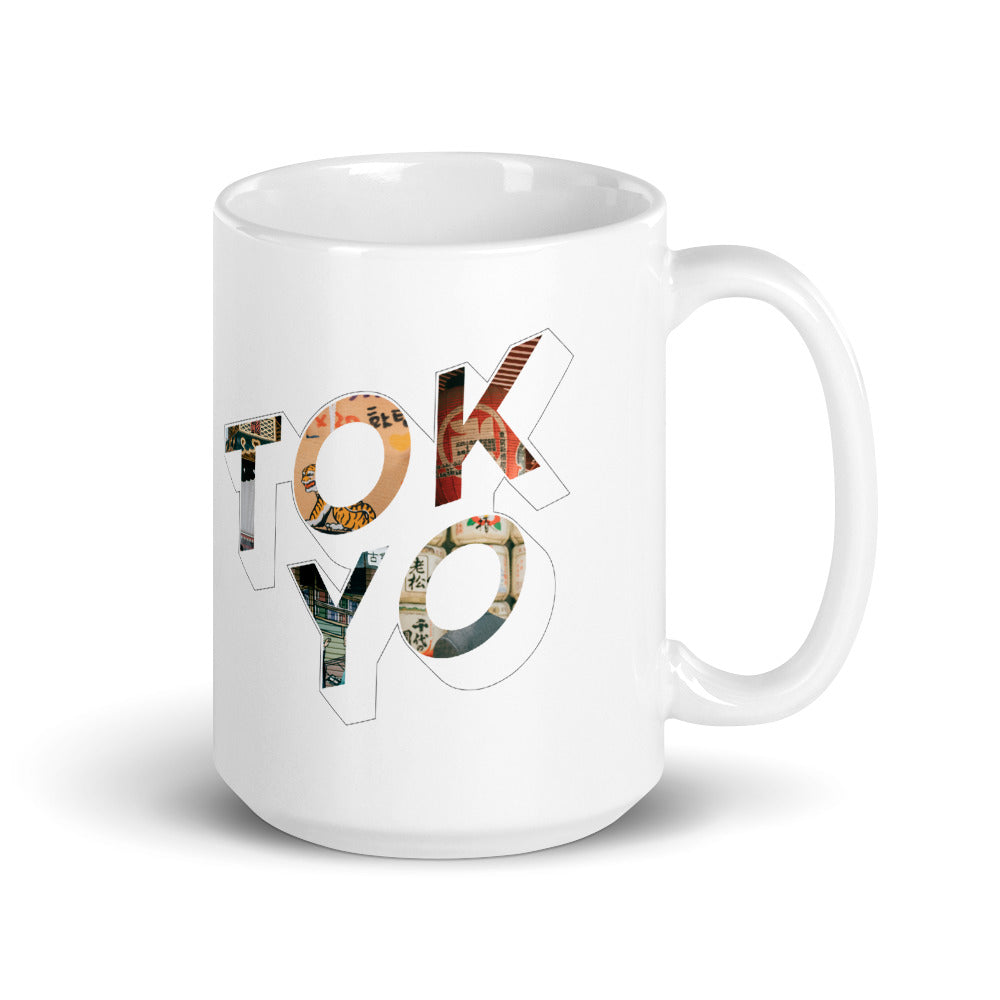 150z white ceramic mug with colourful graphic font on front saying Tokyo