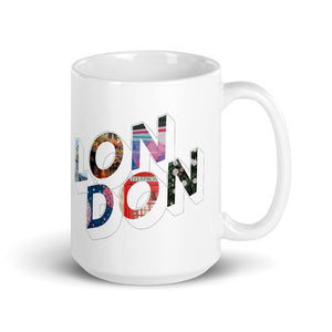 150z white ceramic mug with colourful graphic font on front saying London