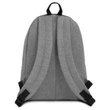 Load image into Gallery viewer, grey backpack with Flytographer logo on the front with padded shoulder straps