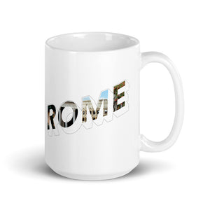 150z white ceramic mug with colourful graphic font on front saying Rome