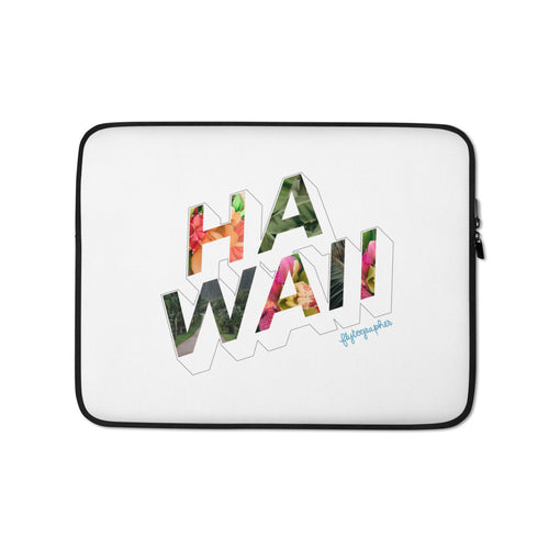 White laptop case with the word Hawaii written on the front in a colourful font
