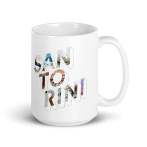 150z white ceramic mug with colourful graphic font on front saying Santorini