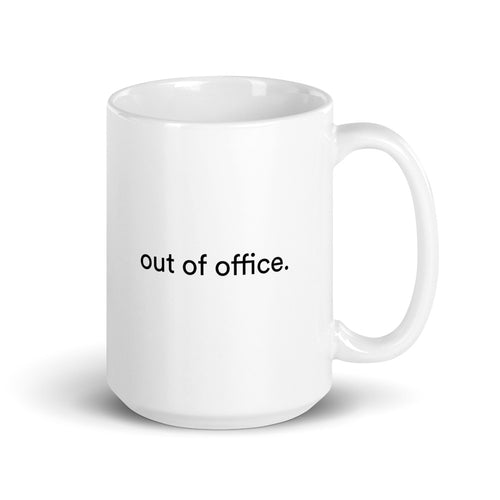 150z white ceramic mug with black graphic font on front saying