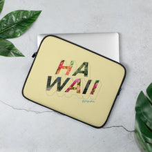 Load image into Gallery viewer, Yellow  laptop case with the word Hawaii written on the front in a colourful font