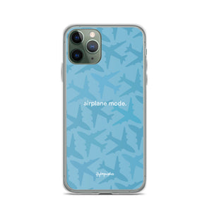 blue iPhone case with airplane graphics and the words airplane mode written on the front