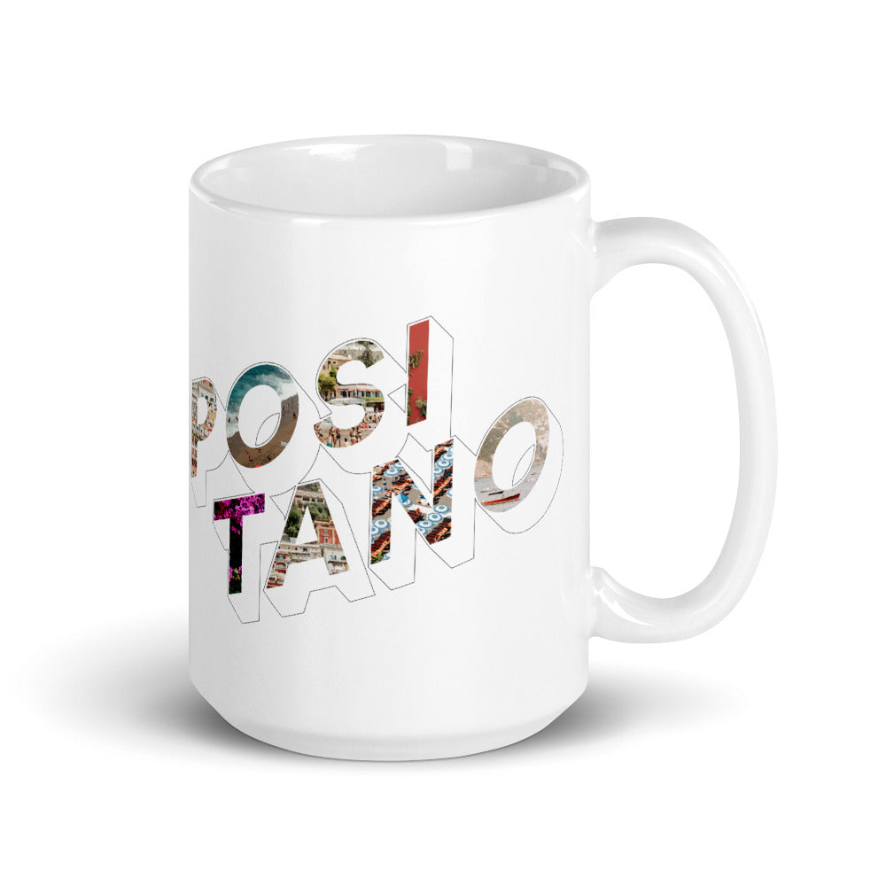 150z white ceramic mug with colourful graphic font on front saying Positano