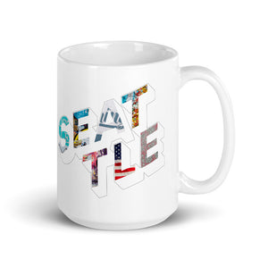 150z white ceramic mug with colourful graphic font on front saying Seattle