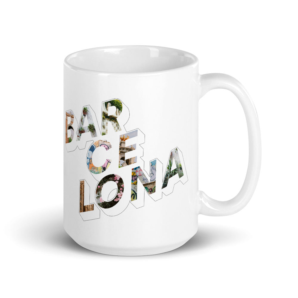 150z white ceramic mug with colourful graphic font on front saying Barcelona