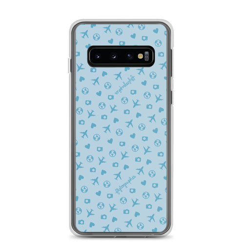 blue Samsung phone case with airplane, hearts, and globe pattern