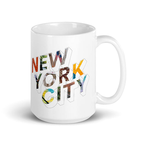 150z white ceramic mug with colourful graphic font on front saying New York City