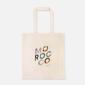 natural colour 100% Cotton Canvas bag with the word with the word Morocco written on the front