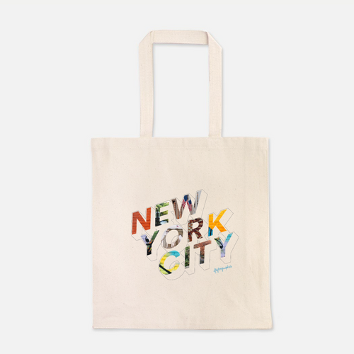 natural colour 100% Cotton Canvas bag with the word New York City written on the front
