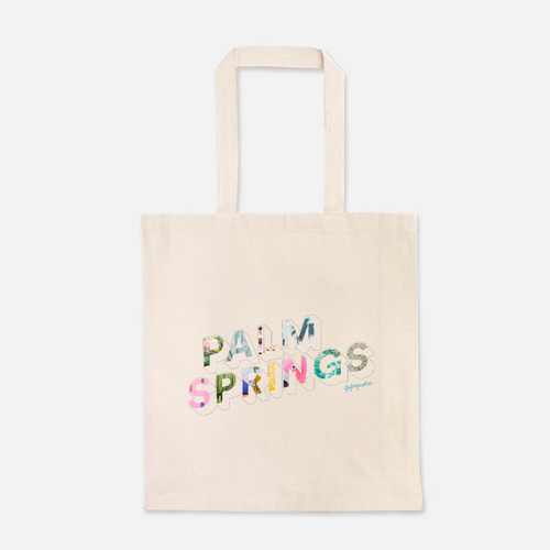 natural colour 100% Cotton Canvas bag with Palm Springs written on the front