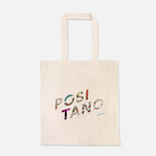 natural colour 100% Cotton Canvas bag with the word Positano written on the front