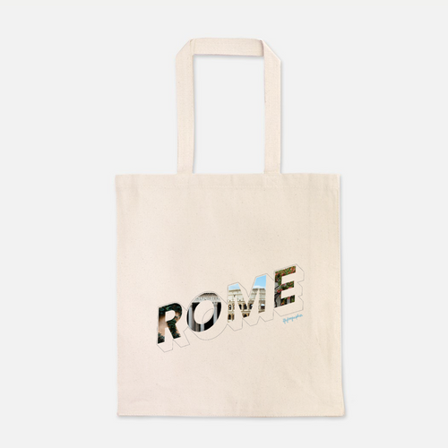 natural colour 100% Cotton Canvas bag with the word Rome written on the front