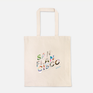 natural colour 100% Cotton Canvas bag with the word San Francisco written on the front