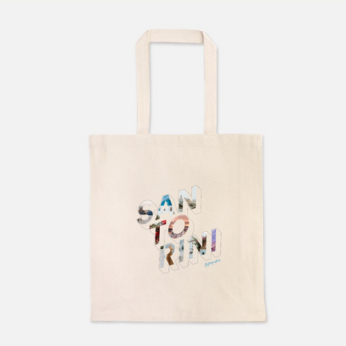 natural colour 100% Cotton Canvas bag with the word Santorini written on the front