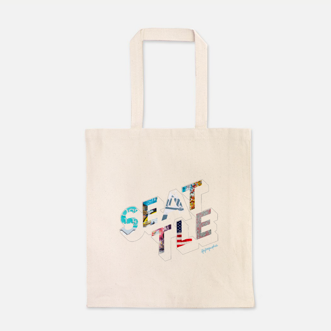 natural colour 100% Cotton Canvas bag with the word Seattle written on the front