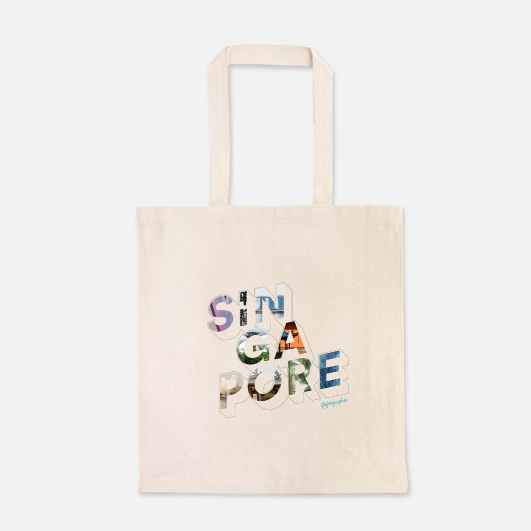 natural colour 100% Cotton Canvas bag with the word Singapore written on the front