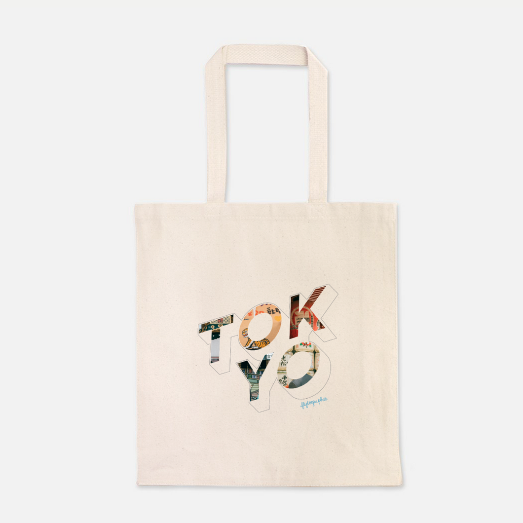 natural colour 100% Cotton Canvas bag with the word Tokyo written on the front