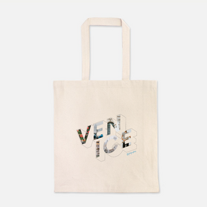 natural colour 100% Cotton Canvas bag with the word Venice written on the front