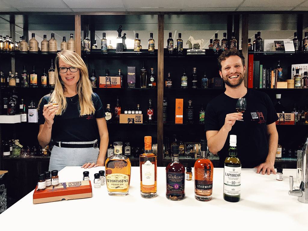 Kristy and Andrew at Pour & Sip Whisky Live Tasting