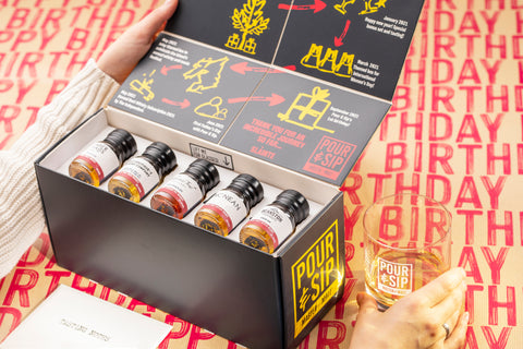 Pour & Sip birthday box open with five drams