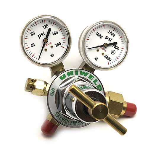 regulator - oxygen - o2 - oxygen regulator - o2 regulator - 1 stage oxygen regulator - oxygen tank regulator - uniweld regulator