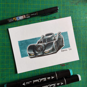 "The Batmobile 6"" x 4"" Original Pen and Marker Art - SketchedUp20"