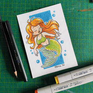 "Flame Haired Mermaid 6"" x 4"" Original Pen and Marker Art - SketchedUp20"