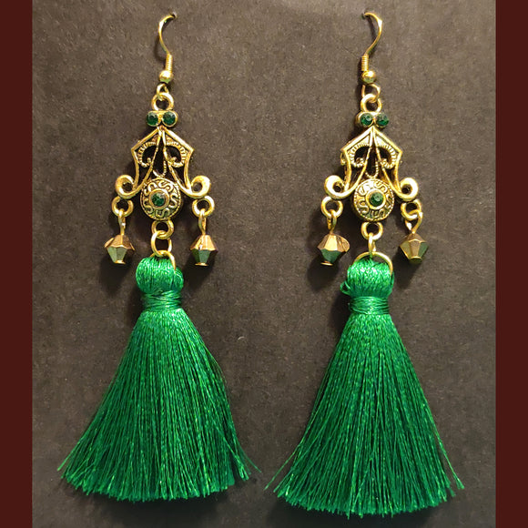 Green Tassel Earrings - SketchedUp20