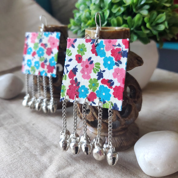 Fabric Square Ghungroo Earrings - SketchedUp20
