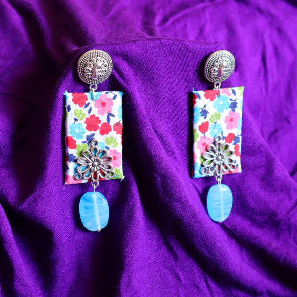 Blue Bead Fabric Earrings - SketchedUp20