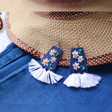Denim Fringe Earrings - SketchedUp20