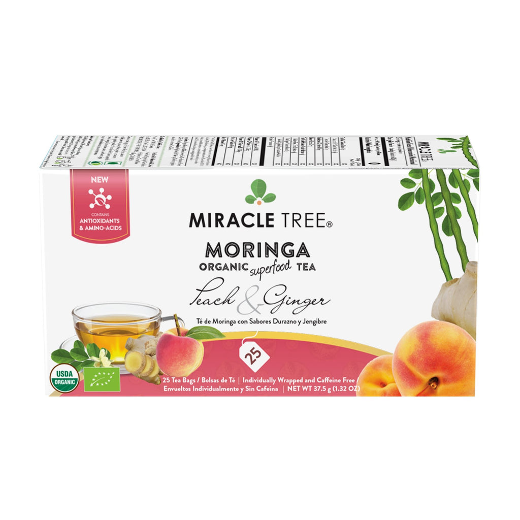 Organic Moringa Tea, Peach & Ginger - Miracle Tree