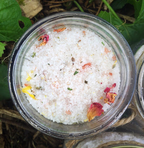 Bath Soak For Relaxation + Stress w/ Epsom Salt, Himalayan + Sea Salt, Organic Flowers, Sage, Cedarwood, & Lavender Essential Oils