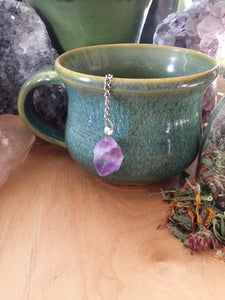 Tea Pot Shaped Tea Infuser with Amethyst Gemstone, Natural Crystal Tea Ball with Steeper + Resting Plate