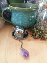 Load image into Gallery viewer, Tea Pot Shaped Tea Infuser with Amethyst Gemstone, Natural Crystal Tea Ball with Steeper + Resting Plate