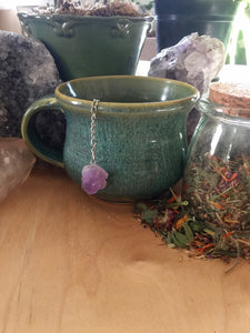 Tea Infuser with Raw Amethyst Crystal, Natural Gemstone Tea Ball for Loose Leaf Tea, Tea Drinkers + Cottagecore Style