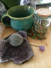 Load image into Gallery viewer, Tea Infuser with Raw Amethyst Crystal, Natural Gemstone Tea Ball for Loose Leaf Tea, Tea Drinkers + Cottagecore Style