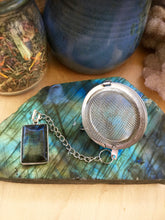 Load image into Gallery viewer, Tea Ball with Labradorite Pendant, Natural Gemstone Infuser for Loose Leaf Tea for Protection + Connection to Magick