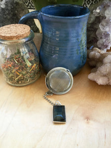 Tea Ball with Labradorite Pendant, Natural Gemstone Infuser for Loose Leaf Tea for Protection + Connection to Magick