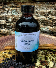 Load image into Gallery viewer, Elderberry Elixir Syrup with Raw Honey + Rose Hips for Nanny Gift, Principal Gift, and Nurse Appreciation in 4 oz. Bottle