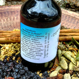 Elderberry Elixir Syrup with Raw Honey + Rose Hips for Nanny Gift, Principal Gift, and Nurse Appreciation in 4 oz. Bottle