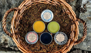 Salve Set with All Purpose Salve, Muscle Rub + Black Salve Herbal First Aid Kit for Cuts, Stings, Splinters + Sore Muscles for Gardener Gift