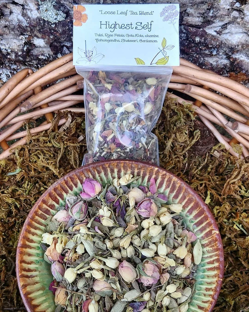 Highest Self ~ Loose Leaf Heart Opening Organic Herbal Tea Blend with Rose Petals, Jasmine, Cardamom & Ashwagandha for Love + Connection, Meditation Herbs